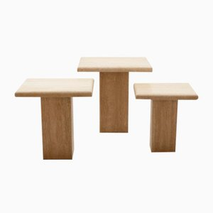 Travertine Tables, 1970s, Set of 3