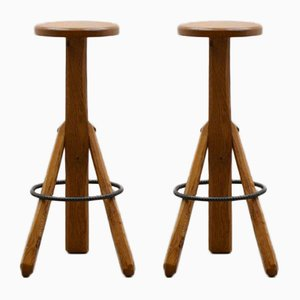 Brutalist Oak Stools, 1980s, Set of 2