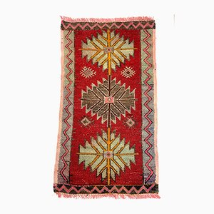 Alfombra Anatolia pequeña antigua ciclon de lana tejida a mano