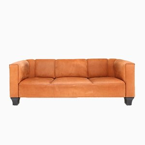 Cognac Suede Palais Stoclet Sofa by Josef Hoffmann for Wittmann