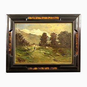 Dipinto ad olio del Monte Bianco sullo sfondo di Ettore Percivaldi, Italia, anni '40
