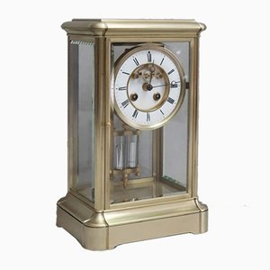 Antique French Brass Four Glass Mantel Clock from Samuel Marti, 1880s