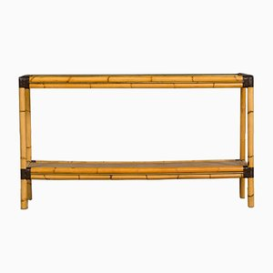 Vintage Bamboo and Rattan Console Table, 1980s