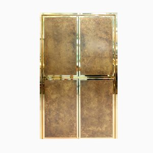 French Brass Bar Cabinet by Maison Jansen