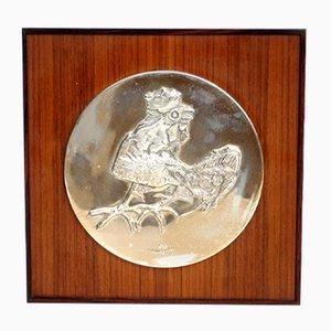 Dekorativer Vintage Teller in Silberner Hahnen-Optik von Luciano Minguzzi für Franklin Mint, 1970er
