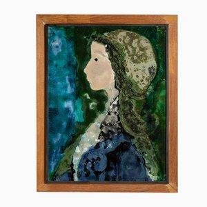 Assiettes Peintes en Céramique, Portraits Vernis et Encadrés par Manfredo Borsi, 1950s, Set de 2