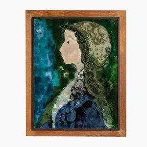 Piatti in ceramica dipinta, ritratti smaltati e incorniciati di Manfredo Borsi, anni '50, set di 2