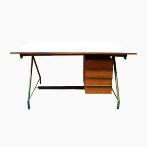 Mid-Century Italian Green Steel, Laminate, and Teak Desk, 1950s