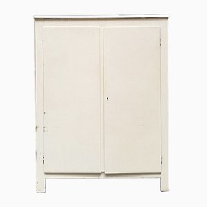 Mid-Century Italian WHite Wood Cabinet with Shelves, 1940s