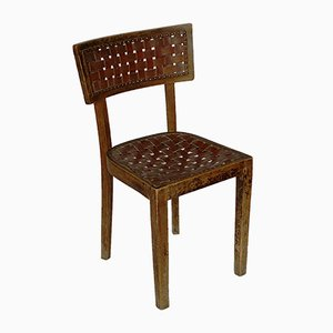 Hungarian Woven Leather Straps and Bent Beechwood Side Chair from Debrecen Bentwood Furniture Factory, 1930s