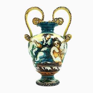 Antike Italienische Handgefertigte Vase von Albissola, 1900er
