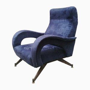 Mid-Century Italian Blue Velvet Lounge Chair with Armrests, 1950s
