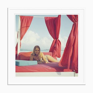 Tania Mallet Oversize C Print Framed in White by Slim Aarons