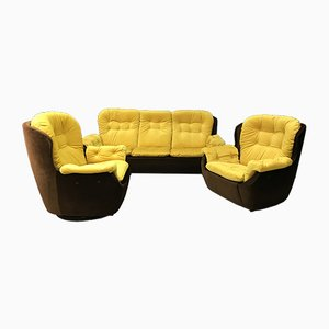Vintage 3-Seater Sofa and Egg Chairs Set, 1970s
