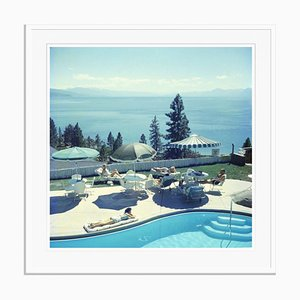 Relaxing at Lake Tahoe Oversize C Print Framed in White by Slim Aarons