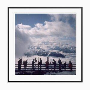 Verbier View Oversize C Print Framed in Black by Slim Aarons