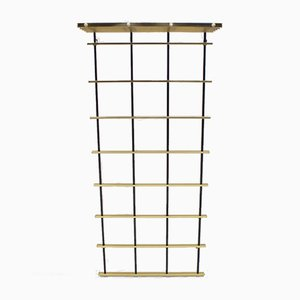 Brass and Aluminium Wall Coat Rack, 1950s