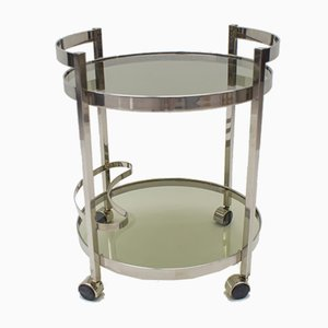 Nickel Plated and Smoked Glass Serving Trolley, 1970s