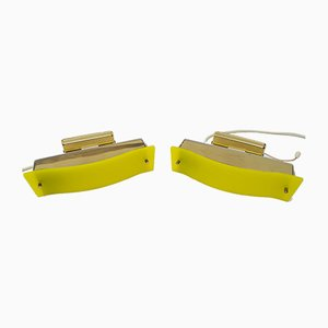 Brass and Yellow Acrylic Glass Wall Lamps, 1960s, Set of 2