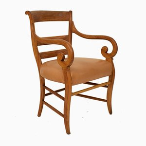 19th Century Biedermeier German Cherrywood and Brown Leather Armchair