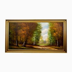 German Forest Road Painting, 1920s