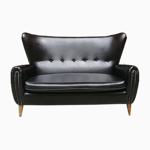 Mid-Century Italian Black Leather Sofa with Armrests and Wooden Legs, 1950s