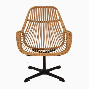 Mid-Century French Black Metal and Rattan Swivel Armchair, 1970s