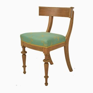 Antique Danish Oak and Silk Klismos Chair, 1860s