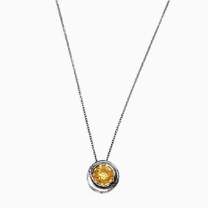 Collana Collana d'argento Garnet Strass Croce