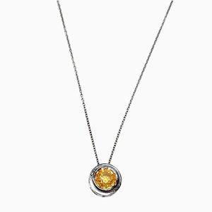 Yellow Sapphire Pendant Necklace, 1990s