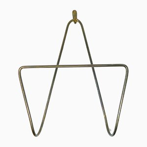 Mid-Century Brass Wall Newspaper Holder with Mounting Hook by Carl Auböck for Werkstätte Carl Auböck, Set of 2