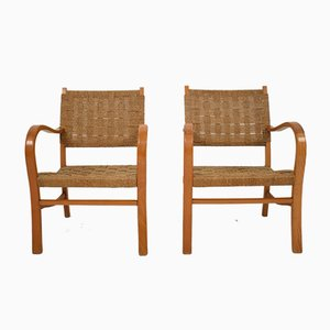 Bauhaus Beech and Woven Rope Armchairs by Erich Dieckmann, 1920s, Set of 2