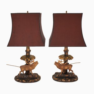 German Deer Lamps with Black Forest Carving by Rhön Sepp, 1940s, Set of 2