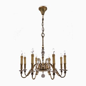French Bronze and Crystal Chandelier from Maison Baguès, 1920s