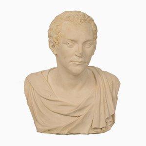 Large Italian Grand Tour Plaster Roman Senator Bust, 1930s