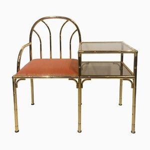 Chaise d'Appoint Style Hollywood Regency Vintage en Laiton, Verre et en Velours Rose, Italie