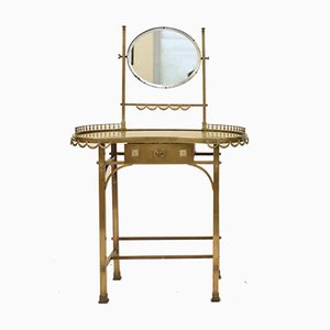 Mid-Century Neoclassical Style Italian Brass and Mirrored Dressing Table, 1950s