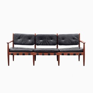 Teak & Leather Model 925 Sofa by Sven Ellekaer for Coja, 1960s