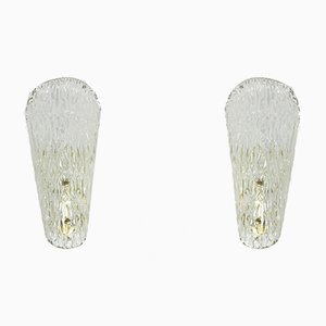 Mid-Century Ice Glass Wall Lights with Brass Holder by J. T. Kalmar for Kalmar, Set of 2