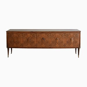 Mid-Century Italian Walnut and Marquetry Sideboard in the Style of Paolo Buffa, 1940s