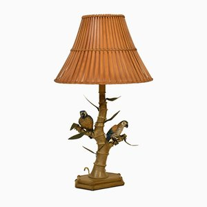 Mid-Century Italian Faux Bamboo Table Lamp with Parrots and Bamboo Lamp Shade, 1970s