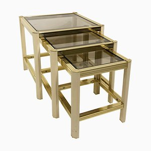 Vintage Hollywood Regency Brass and Cream Nesting Tables in the Style of Pierre Vandel, 1970s, Set of 3