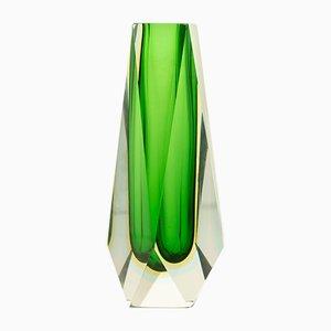Green Murano Block Vase, 1970s