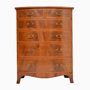 Large Antique Inlaid Mahogany Bow Front Chest of Drawers