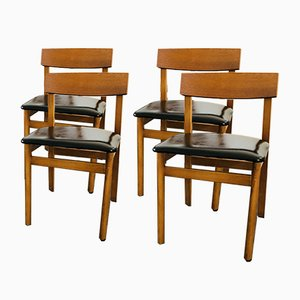 Vintage Teak and Black Vinyl Dining Chairs, 1960s, Set of 4