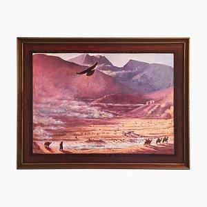 Pink Mountain Caravan Painting by Alan Healey, 2006