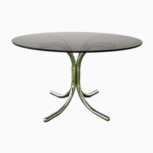 Italian Smoked Glass and Chrome Metal Dining Table in the Style of Giotto Stoppino, 1970s