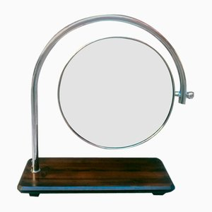 Mid-Century Italian Round Wooden Table Mirror, 1970s