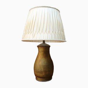 Lampe de Bureau Mid-Century en Laiton avec Abat-jour Plissé, Italie, 1950s