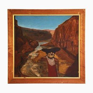 Vintage Mountain Gemälde von Alan Healey, 1986